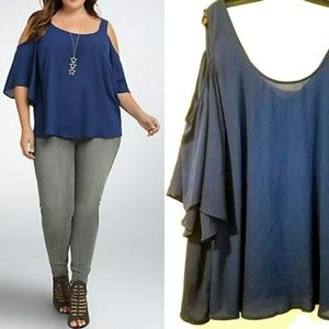 4X Torrid Blue Cold Shoulder Georgette Blouse